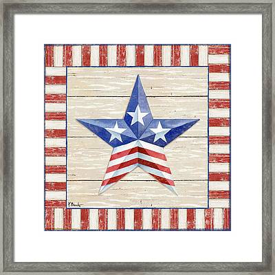 Bordered Patriotic Barn Star II Framed Print by Paul Brent