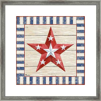 Bordered Patriotic Barn Star Iv Framed Print by Paul Brent