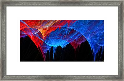 Borealis - Blue And Red Abstract Framed Print
