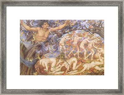 Boreas And Fallen Leaves Framed Print by Evelyn De Morgan