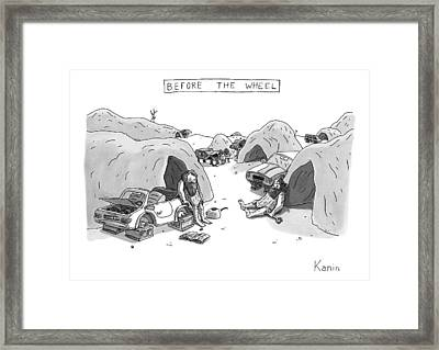 Bored Cavemen Sitting Around Next To Cars Framed Print
