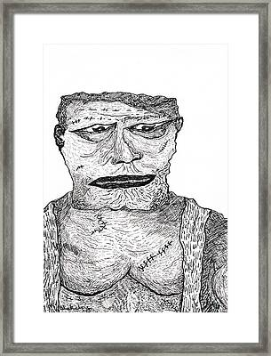 Framed Print featuring the drawing Boris by Martin Blakeley