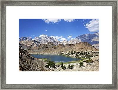 Borith Lake And Mountains In Pakistan Framed Print by Robert Preston