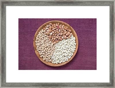 Borlotti Beans, White Beans And Chick-peas In Wooden Dish Framed Print