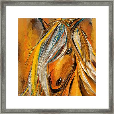 Born Free-colorful Horse Paintings - Yellow Turquoise Framed Print by Lourry Legarde