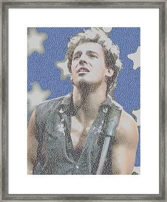 Born In The Usa Lyric Mosaic Framed Print