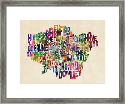 Boroughs Of London Typography Text Map Framed Print