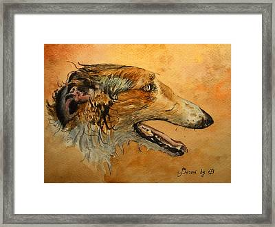 Borzoi Dog Framed Print by Juan  Bosco