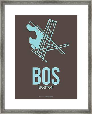 Bos Boston Airport Poster 2 Framed Print by Naxart Studio