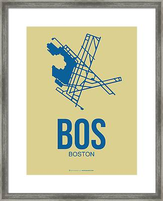 Bos Boston Airport Poster 3 Framed Print by Naxart Studio