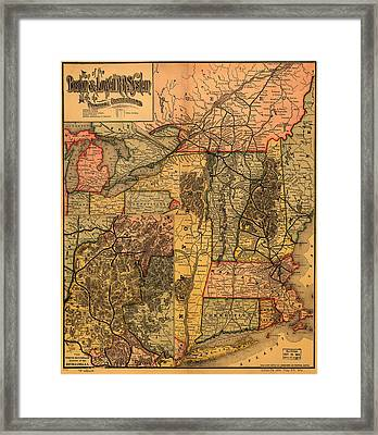 Boston And Lowell Railroad Map 1886 Framed Print by Mountain Dreams