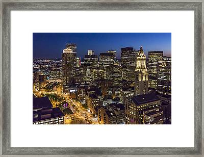 Boston And The Custom House Tower At Night Framed Print