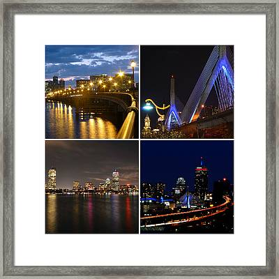 Boston At Night Collage Framed Print by Toby McGuire