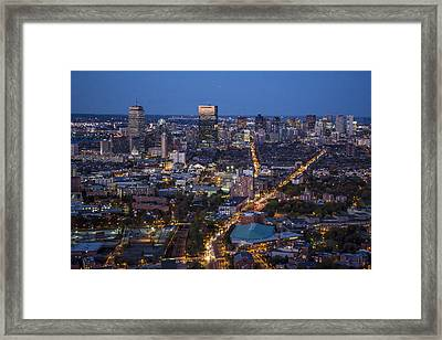 Boston At Night From The Sw. Framed Print