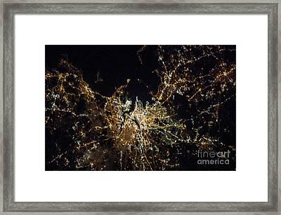 Boston At Night, Iss Image Framed Print by Nasa