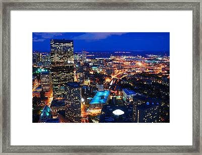 Framed Print featuring the photograph Boston At Night by James Kirkikis