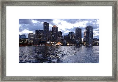 Boston At Twilight Two Framed Print by Laura Lee Zanghetti
