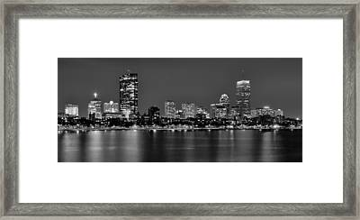 Boston Back Bay Skyline At Night Black And White Bw Panorama Framed Print