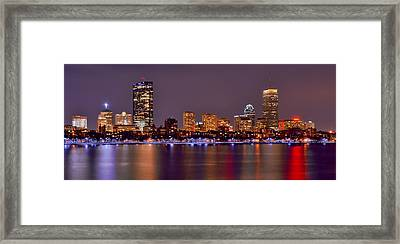 Boston Back Bay Skyline At Night Color Panorama Framed Print