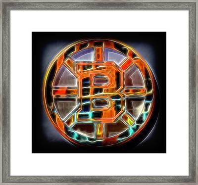 Boston Bruins Logo Framed Print by Stephen Stookey