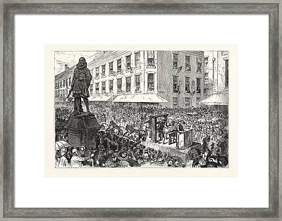Boston Celebration The Procession Passing Winthrop Statue Framed Print by Graham, Charles (1852-1911), American