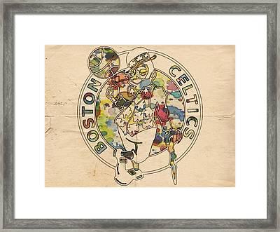 Boston Celtics Logo Vintage Framed Print by Florian Rodarte