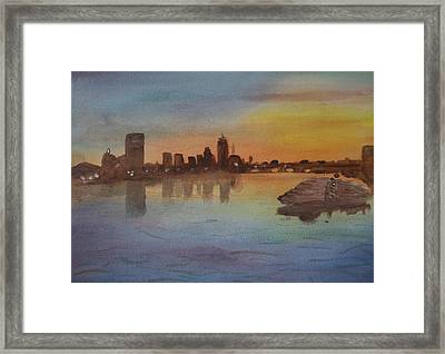 Boston Charles River At Sunset  Framed Print by Donna Walsh