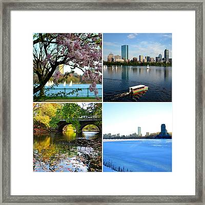 Boston Charles River Four Seasons Collage Framed Print by Toby McGuire
