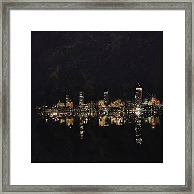 Boston City Skyline 2 Framed Print