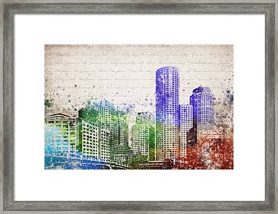 Boston City Skyline Framed Print by Aged Pixel