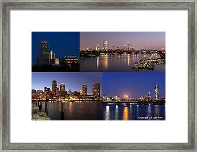 Boston City Skyline Framed Print by Juergen Roth