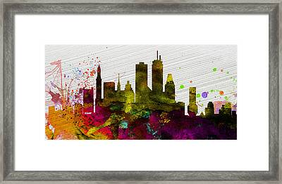 Boston City Skyline Framed Print by Naxart Studio