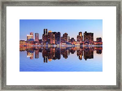 Boston City With Water Reflection At Framed Print by Buzbuzzer