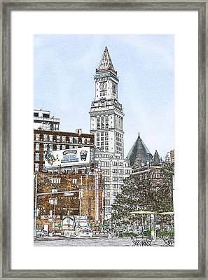Boston Custom House Tower Framed Print by Fred Larson