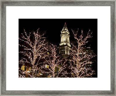 Boston Custom House With Christmas Lights Framed Print