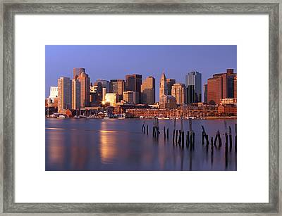 Boston Financial District And Harbor Framed Print