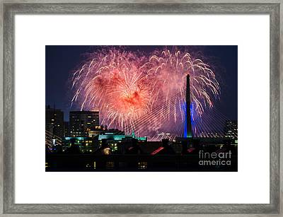 Framed Print featuring the photograph Boston Fireworks 1 by Mike Ste Marie