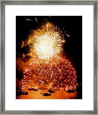 Boston Fireworks  A Burst On The Water Framed Print by John B Poisson