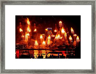 Boston Fireworks  Firepower Framed Print by John B Poisson