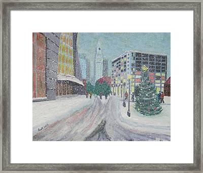 Boston First Snow Framed Print