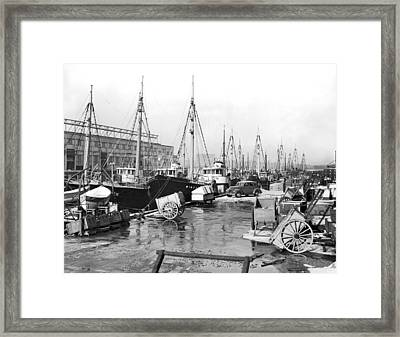 Boston Fishermen On Strike Framed Print by Underwood Archives