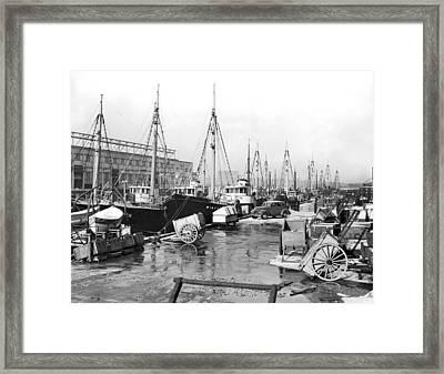 Boston Fishermen On Strike Framed Print