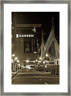 Boston Garder And Side Street Framed Print
