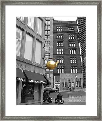 Framed Print featuring the photograph Boston Golden Teapot by Cheryl Del Toro