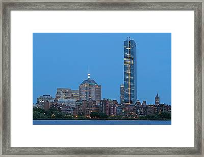 Boston Hancock And Brownstones Along The Charles River Framed Print