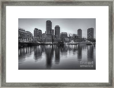 Boston Harbor And Skyline At Twilight II Framed Print by Clarence Holmes