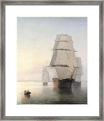 Boston Harbor At Sunset Detail 1 Framed Print