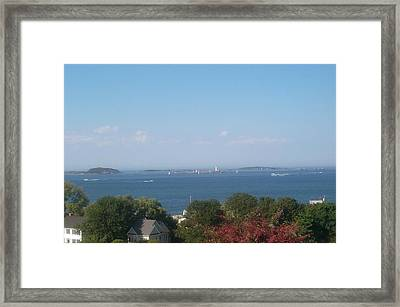 Framed Print featuring the photograph Boston Harbor From Hull by Barbara McDevitt