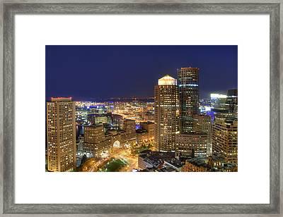 Boston Harbor Hotel Skyline Framed Print by Joann Vitali
