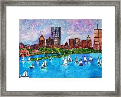 Boston Harbor Framed Print by Janet Immordino